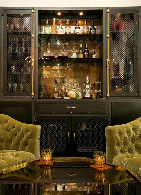 green-and-black-living-room-industrial-black-metal-casement-bar-cabinet