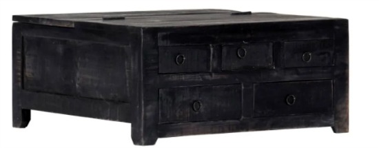 "vidaXL Coffee Table Black 25.6""x25.6""x11.8"" Solid Mango Wood"