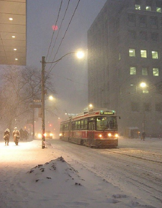 heading home in the snowstorm