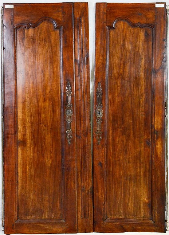 Pair French Louis XV Style Armoire Doors in Cherry