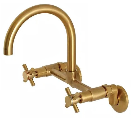 Concord 2-Handle Wall-Mount Standard Kitchen Faucet in Brushed Brass