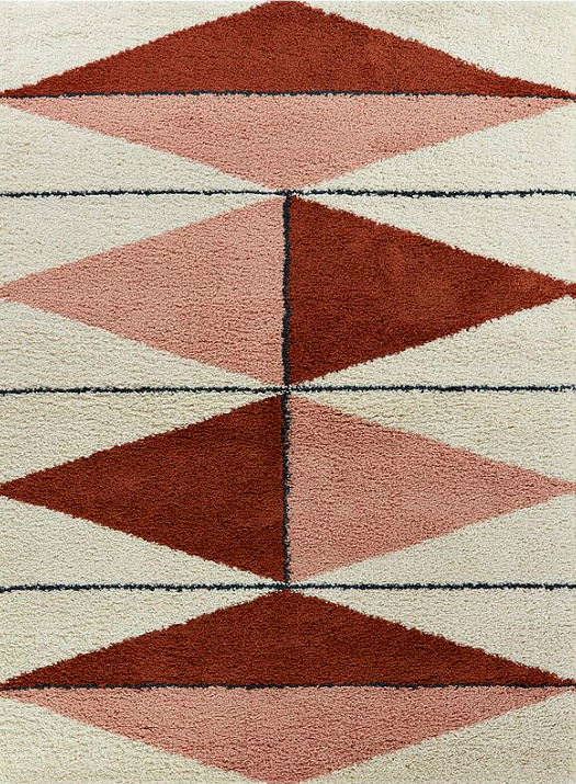 Wauseon Power Loom Brown/Pink/Beige Rug