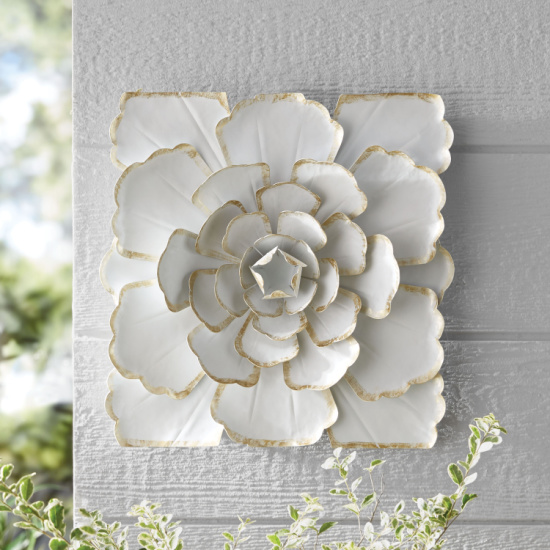 Better Homes and Gardens Outdoor 15in Metal White Flower Wall Art
