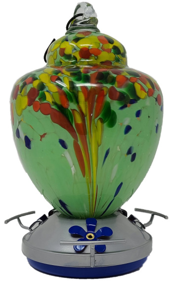 Griffin Products 38 oz Green Hand-blown Glass Hummingbird Feeder