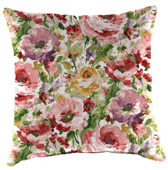Jordan Manufacturing Lessandra Outdoor Square Toss Pillows Rosewood Set of 2