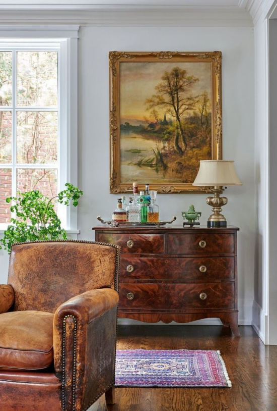 antique-chest-leather-chair-home-bar