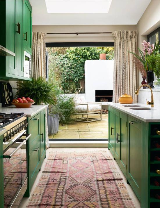 green-kitchen-cabinets-TIM BEDDOW-House-Garden