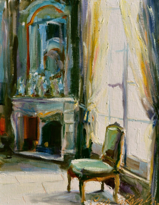 Beautiful French Room of green chair by Cecilia Rosslee