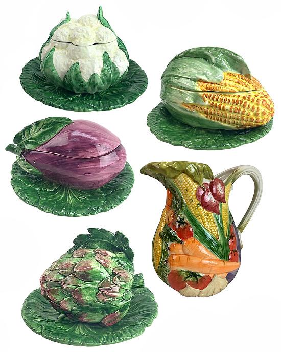 vegetable-shaped-Italian-Majolica-serveware