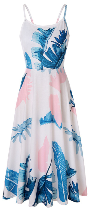 Women's Backless Printed Loose Strap Dress