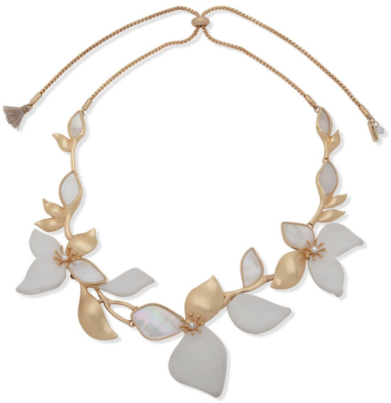 """lonna & lilly Gold-Tone Pavé, Mother-of-Pearl & Leather Flower 26"""" Adjustable Necklace"""