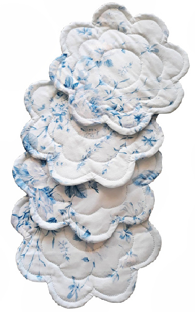 quilted blue and white flower coasters