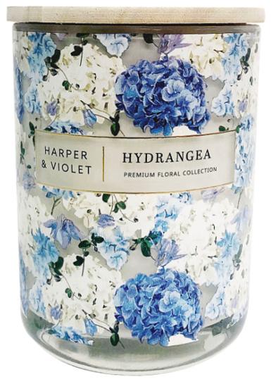 Premium Floral Collection Harper & Violet Hydrangea 15oz 2-Wick Candle, Ivory