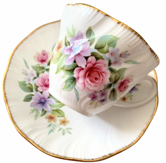 Royal Heritage Bone China Cup and Saucer - Pink Rose