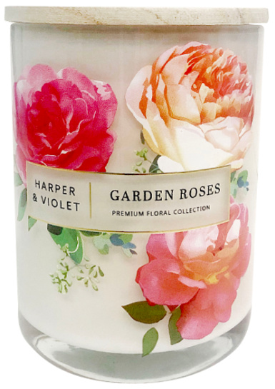 Premium Floral Collection Harper & Violet Garden Roses 15oz 2-Wick Candle White