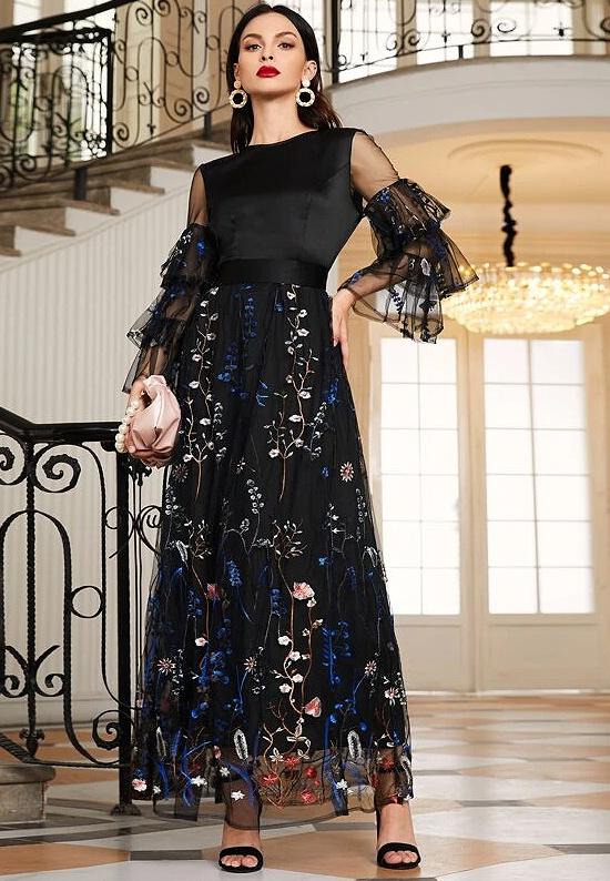 Flounce Sleeve Embroidery Mesh Dress