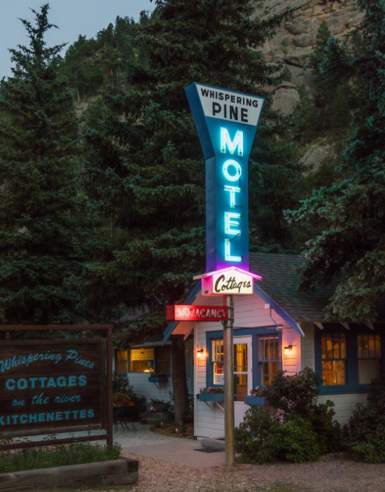Whispering Pines Motel, Mid-Century Mountain Cabins, Estes Park, Colorado,