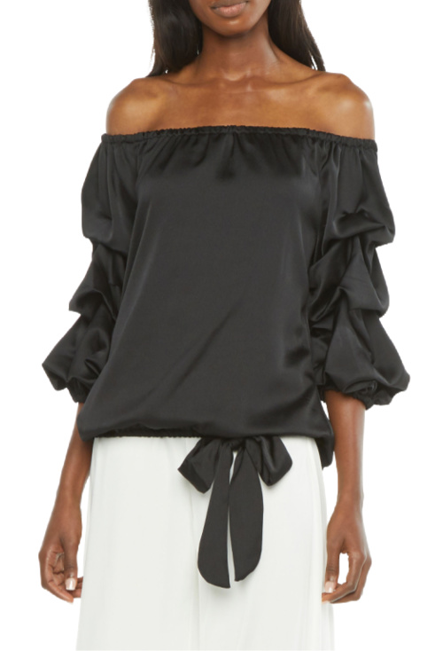 Womens Off The Shoulder 34 Ruffle Sleeve Tie Blouse