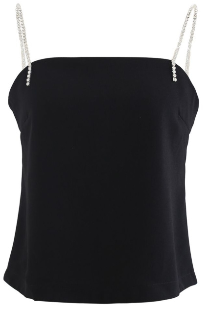 Crystal Straps Cami Tank Top in Black