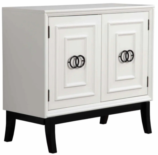2 Door Accent Chest with Molded Rectangular Accents, White and Black