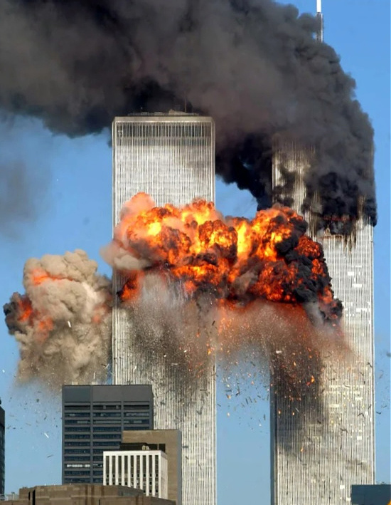 never forget twin towers after being hit 9/11