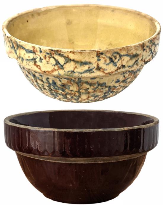 chocolatey brown antique farmhouse, stoneware mixing bowl